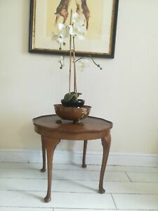Queen Anne Legs Coffee Table Walnut Veneer top Scalloped Edge Postage available