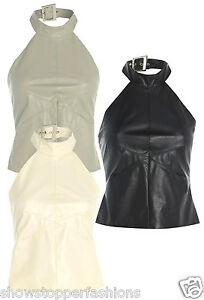 NEW Womens Faux Leather Halterneck SEXY TOP Ladies Fetish Size 10 12 14 Black PU