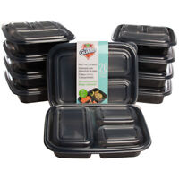 20pc Meal Prep Containers 3 Compartment Food Storage BPA Free Plastic With Lids