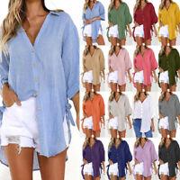 Women Ladies Short Sleeve Shirt Blouse Ladies Summer V-Neck Plus Tee Tops US