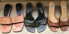 Lot/Barneys Anne Klein Sandals Slip-On's 8.5 Made in Italy Croc Embossed Leather
