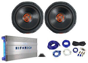 "(2) Memphis Audio MJP1544 15"" 1500w MOJO Subwoofers+Hifonics Amplifier+Amp Kit"