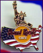 Hard Rock Cafe KUALA LUMPUR 1998 July 4th PIN USA Map w/ Gold Statue of Liberty