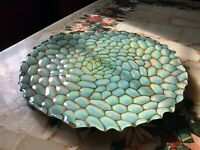 Large Aquamarine Iridescent Art Glass Serving Platter Gold Silver