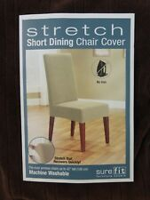 Sure Fit Stretch Pinstripe Chocolate Short Dining Chair Slipcover NIP