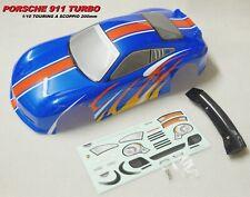 Carrozzeria 1/10 200mm PORSCHE 911 TURBO Body 1:10 Verniciata Blu/Red Painted