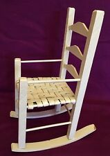 White Wood Rocking Armchair Chair Good For 18 in doll Toy Vintage 14 3/4 in hi