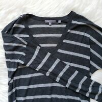 VINCE Size S Womens Sweater Black Gray Striped Tunic Wool Inside Out Pullover