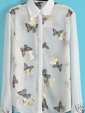 """WOMENS GLITTER BUTTERFLY PRINTS WHITE SHIRT TOP BLOUSE NEW BUST SIZE 39"""""""