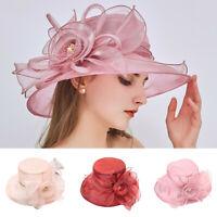Beach Sun Straw Hat Ladies Flower Travel Cap Folding Wide Brim Caps Summer Party