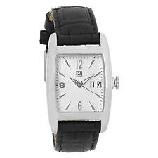 ESQ Quest Mens Silver Dial Black Leather Strap Quartz Watch 07300949