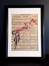 VINTAGE ANTIQUE MUSIC BOOK PAGE WALL ART PRINT PICTURE -BANKSY BUTTERFLY SUICIDE