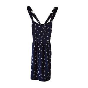 Everly Anthropologie Womens Sun Dress Navy Blue Medium Horse Print Sleeveless