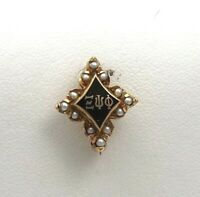 14K Gold Vintage XI PSI PHI Fraternity Sorority Pin With Seed Pearls