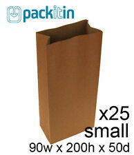 KRAFT BROWN paper flat bottom small GIFT BAGS x 25 - for party lolly bags NEW