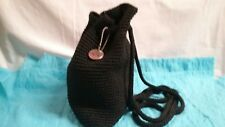 THE SAK Handbag-Purse-Black Crochet-Drawstring-Knapsack-EUC
