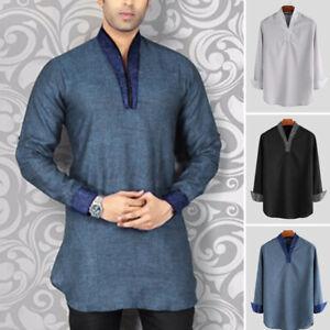 Men's Kurta Indian T-shirt Formal Blouses Long Sleeve V Neck Shirt Kaftan Tunic