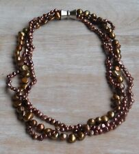"""Freshwater Pearl 3 Strand Necklace 16"""" Brown With Magnetic Closure"""