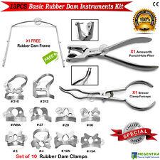Dental Rubber Dam Instruments Starter Kit Punch Clamps Forceps Frame Dentists Ce