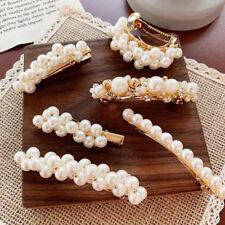 Fashion Women White Pearl Hairpin Snap Barrette Stick Hair Clip Hair Accessories