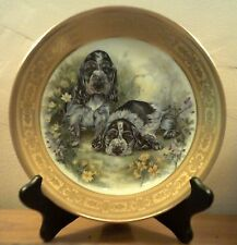 NEW 8 Inch Bavaria Incisione Oro (Gold) Trim Spaniel Puppies Plate MADE IN ITALY