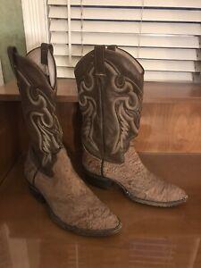 Sueded Shrunken Shoulder Cowboy Boots Men 8.5 D