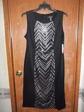 NWT~R & M RICHARDS BLACK SEQUIN PANEL SHIFT DRESS~PLUS-SIZE 18W~RETAILS $80