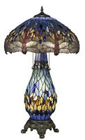 "Tiffany Style Dragonfly BlueTable Lamp W/Illuminated Base 18"" Shade"