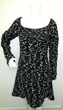 CHANEL Black & White Confetti Tweed Off  Shoulder Long Sleeve Flared Dress - 38