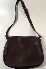 Vintage Gansen Brown Leather Saddle Purse Long Strap & Many Compartments