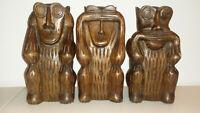 A Set Of Three Hand Carved Wooden Monkeys - See, Hear, Speak No Evil  Figurines