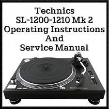 Technics SL-1200 - 1210 Mk2 Operating instructions & Service Manuals (DOWNLOAD)