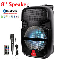 "Portable 8"" Bluetooth Wireless Speaker Bass Louder W/ Mic USB TF AUX Disco Light"