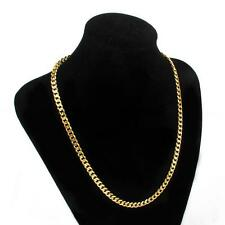 18K Gold Filled Stainless Steel Curb Cuban Link Chain Men Necklace Christmas gif