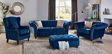 New Chesterfield in Luxury Blue Grey Silver Velvet 1, 2, or 3 Seater Sofa Set