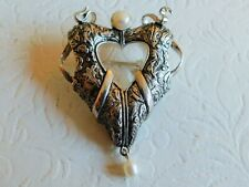 By Raine W/ Pearl 24g Attractive Vintage Larger Sterling Silver Pin