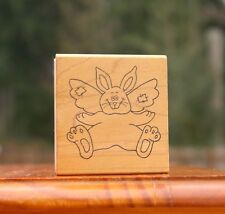 Bunny Rabbit Wings Patches Wood Mounted Rubber Stamp by Great Impressions #F106