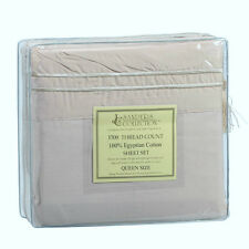 1500 TC THREAD COUNT LUXURY EGYPTIAN COTTON SHEET SET QUEEN SIZE BEIGE LT. TAN