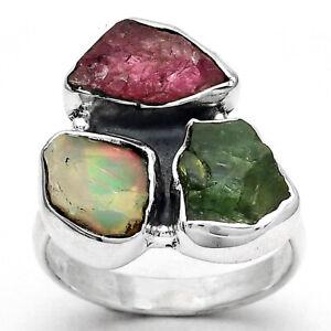 Ethiopian Opal, Tsavorite & Pink Tourmaline Rough 925 Silver Ring s.7 6808