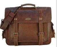 """New Usa 16"""" Leather Vintage Messenger Shoulder Men Satchel Laptop Briefcase Bag"""