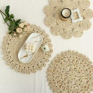 Straw Woven Tea Table Mat Home Placemat Rattan Round Dining Drinks Table Mat UK
