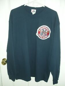 NWOT., MAJESTIC  BASEBALL JERSEY, MEMPHIS RED SOX PATCH, SIZE MENS XL, NAVY