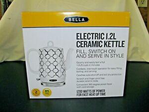 Bella Electric Ceramic Kettle, White & Silver - Tea Pot  1.2L, New