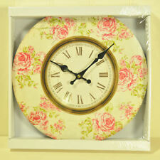 WOODEN VINTAGE STYLE PINK ROSE THEMED WALL CLOCK