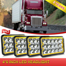 4pcs Chorme LED Headlights Hi Lo Beam with AMBER Halo DRL Super Bright for Truck