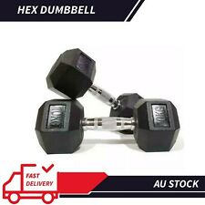 AU Rubber Iron Hex Dumbbell Pair Fitness Gym Strength Weight Training 2.5KG-20KG