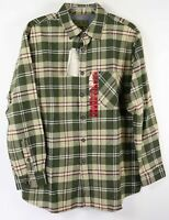 New Anchorage Heavy Flannel Shirt Mens XL Olive Khaki Plaid Brawny