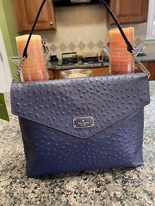 Kate Spade Leena A La Vita Ostrich Leather Shoulder Bag French Navy NWT- $478