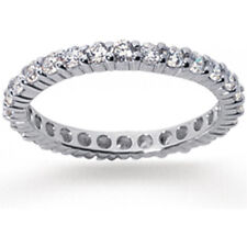 1.10 ct Round cut Diamond Ring Platinum Eternity Band Size 3.5 F VS 0.05 ct each