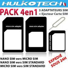 LOT 3 ADAPTATEURS CARTE NANO SIM / MICRO SIM / SIM STANDARD POUR IPHONE 5 - NOIR